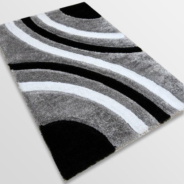 Рошав килим - 3Д Софт Шаги 305 Сив/Черен