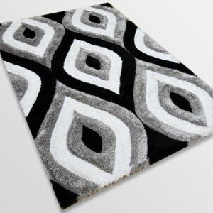 Рошав килим - 3Д Софт Шаги 311 Сив/Черен