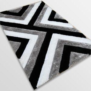 Рошав килим - 3Д Софт Шаги 321 Сив/Черен