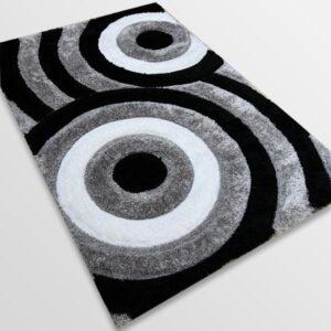Рошав килим - 3Д Софт Шаги 324 Сив/Черен