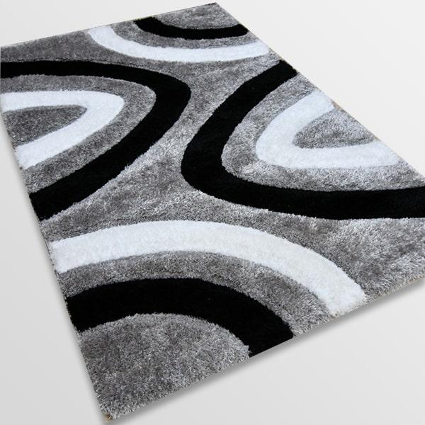 Рошав килим - 3Д Софт Шаги 325 Сив/Черен