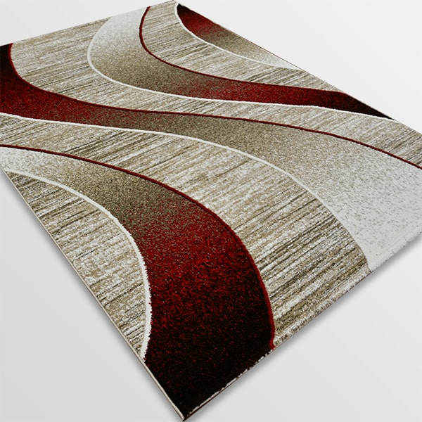 Модерен килим - Ирис 582 Бежов/Червен