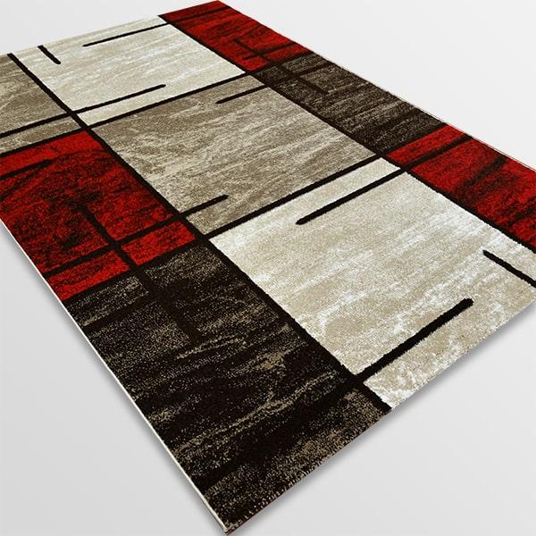 Модерен килим - Ирис 592 Бежов/Червен