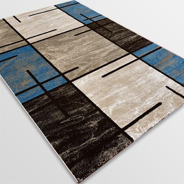 Модерен килим - Ирис 592 Бежов/Син