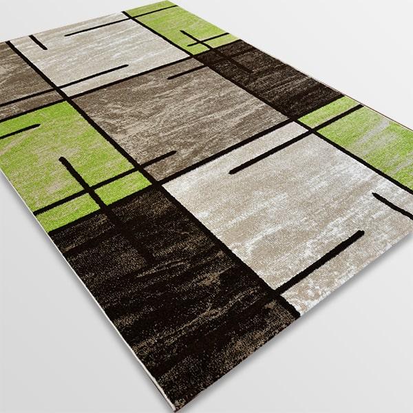 Модерен килим - Ирис 592 Бежов/Зелен