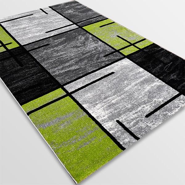 Модерен килим - Ирис 592 Сив/Зелен