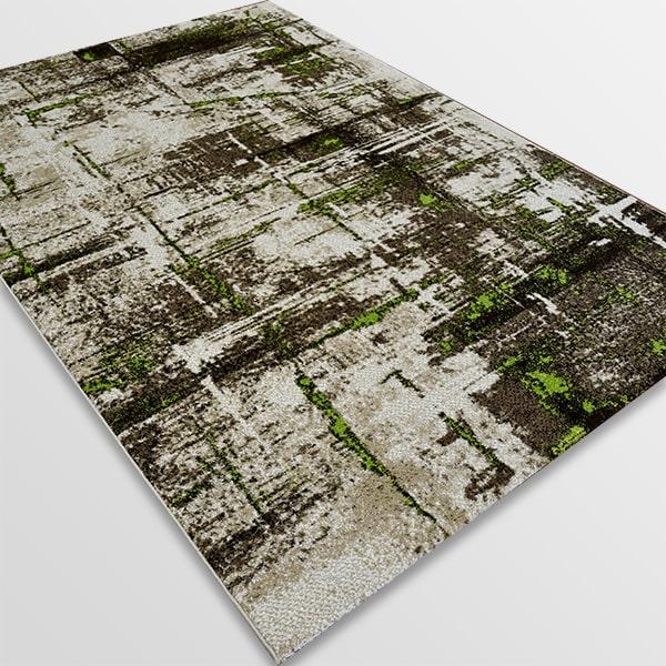Модерен килим - Ирис 595 Бежов/Зелен