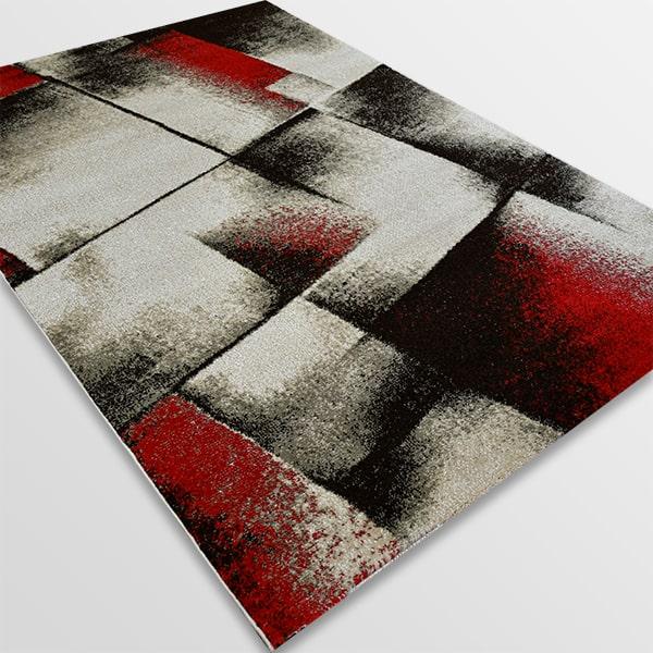 Модерен килим - Ирис 596 Бежов/Червен