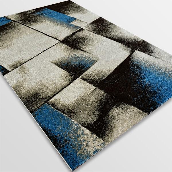Модерен килим - Ирис 596 Бежов/Син