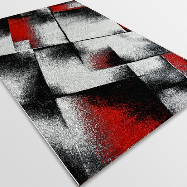 Модерен килим - Ирис 596 Сив/Червен
