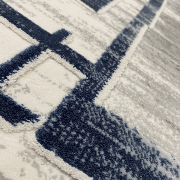 Акрилен килим - Вега 2219 Син - детайл - 2