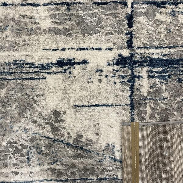 Модерен килим - Атлас 878 Син/Сив - детайл - 3