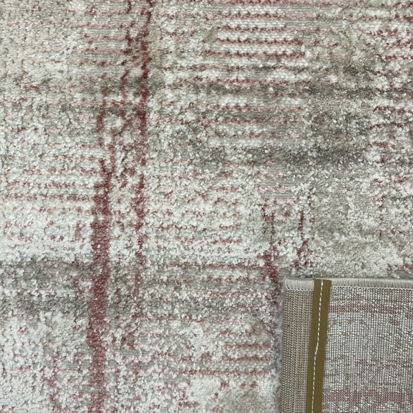Модерен килим - Атлас 892 Розов/Визон - детайл - 3
