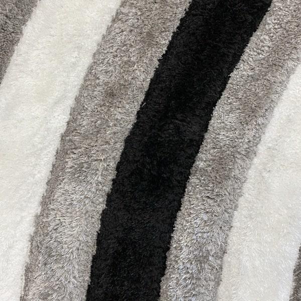 Рошав килим - 3Д Софт Шаги 305 Сив/Черен - детайл - 1