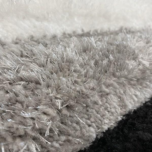 Рошав килим - 3Д Софт Шаги 305 Сив/Черен - детайл - 2