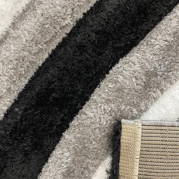 Рошав килим - 3Д Софт Шаги 305 Сив/Черен - детайл - 3