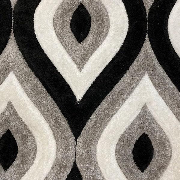 Рошав килим - 3Д Софт Шаги 311 Сив/Черен - детайл - 1
