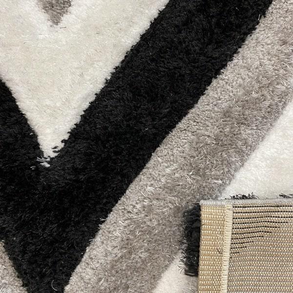 Рошав килим - 3Д Софт Шаги 311 Сив/Черен - детайл - 3