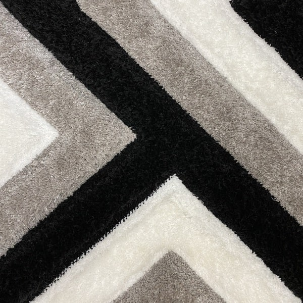 Рошав килим - 3Д Софт Шаги 321 Сив/Черен - детайл - 1