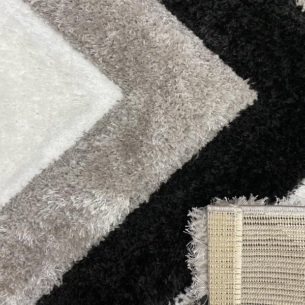Рошав килим - 3Д Софт Шаги 321 Сив/Черен - детайл - 3