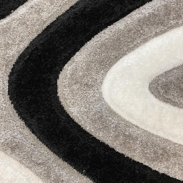 Рошав килим - 3Д Софт Шаги 325 Сив/Черен - детайл - 1