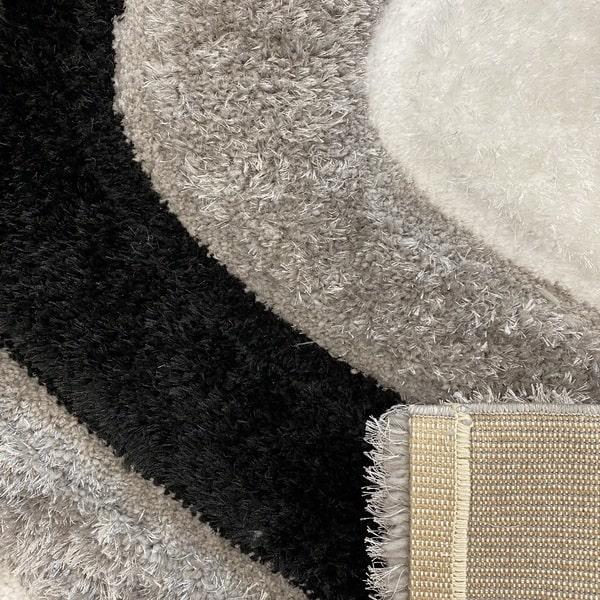 Рошав килим - 3Д Софт Шаги 325 Сив/Черен - детайл - 3