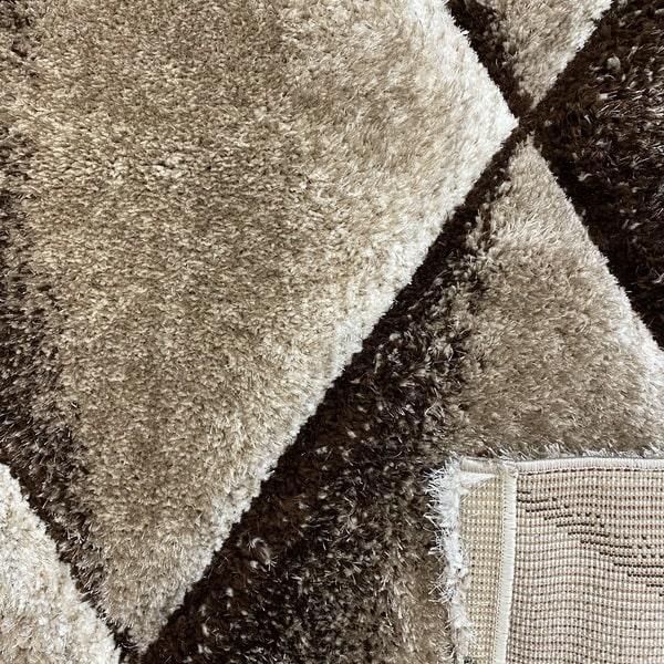 Рошав килим - 3Д Софт Шаги 376 Визон/Кафяв - детайл - 3