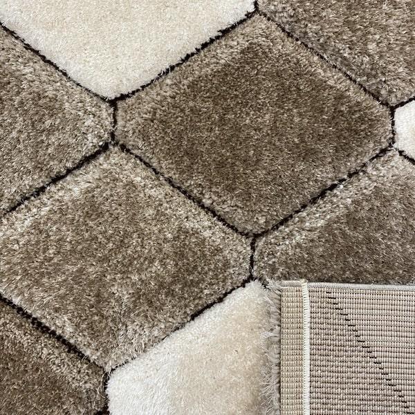 Рошав килим - 3Д Софт Шаги 420 Визон/Кафяв - детайл - 3