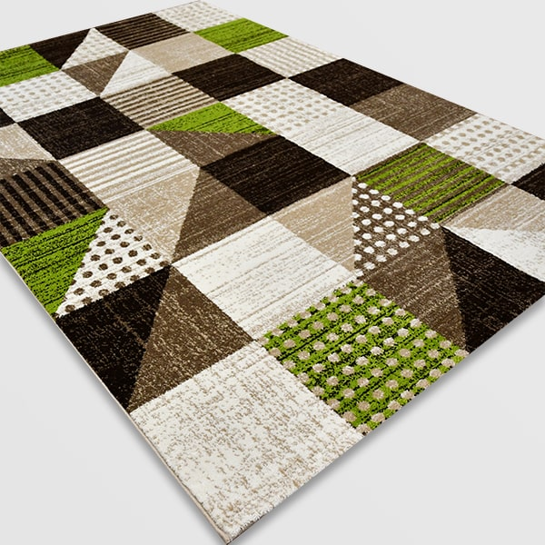 Модерен килим - Ирис 605 Бежов/Зелен