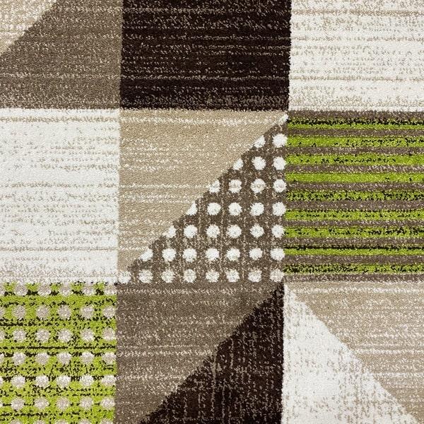 Модерен килим - Ирис 605 Бежов/Зелен - детайл - 1