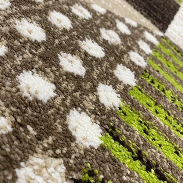 Модерен килим - Ирис 605 Бежов/Зелен - детайл - 2