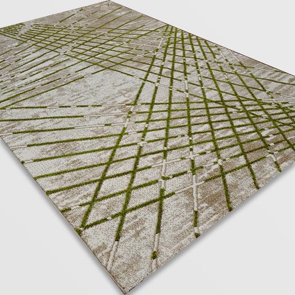 Модерен килим - Ирис 899 Бежов/Зелен