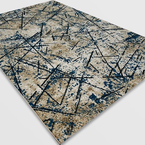 Модерен килим - Ирис 901 Бежов/Син