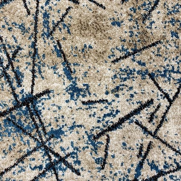 Модерен килим - Ирис 901 Бежов/Син - детайл - 1