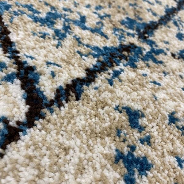 Модерен килим - Ирис 901 Бежов/Син - детайл - 2