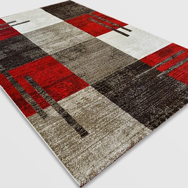 Модерен килим - Ирис 976 Бежов/Червен