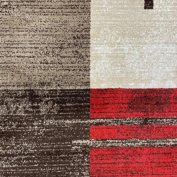 Модерен килим - Ирис 976 Бежов/Червен - детайл - 1