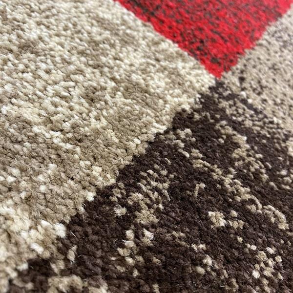 Модерен килим - Ирис 976 Бежов/Червен - детайл - 2