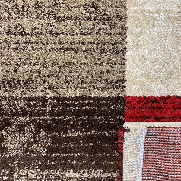 Модерен килим - Ирис 976 Бежов/Червен - детайл - 3