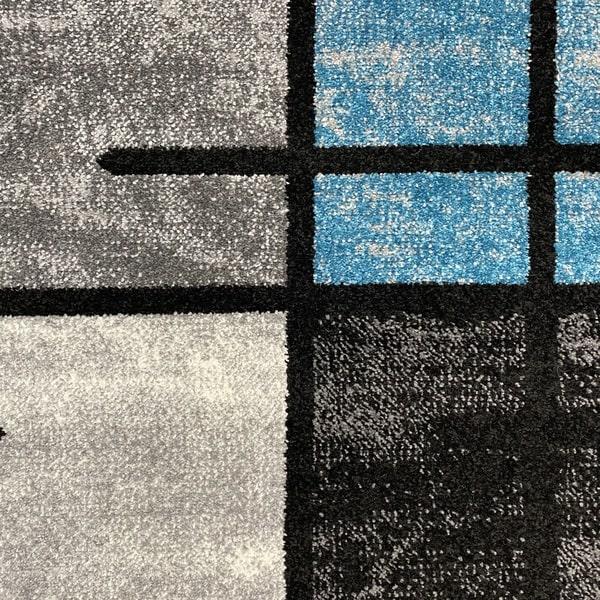 Модерен килим - Ирис 592 Сив/Син - детайл - 1