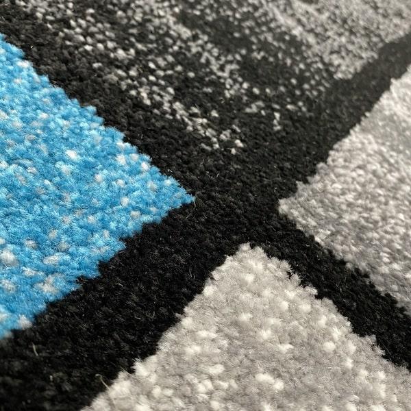 Модерен килим - Ирис 592 Сив/Син - детайл - 2